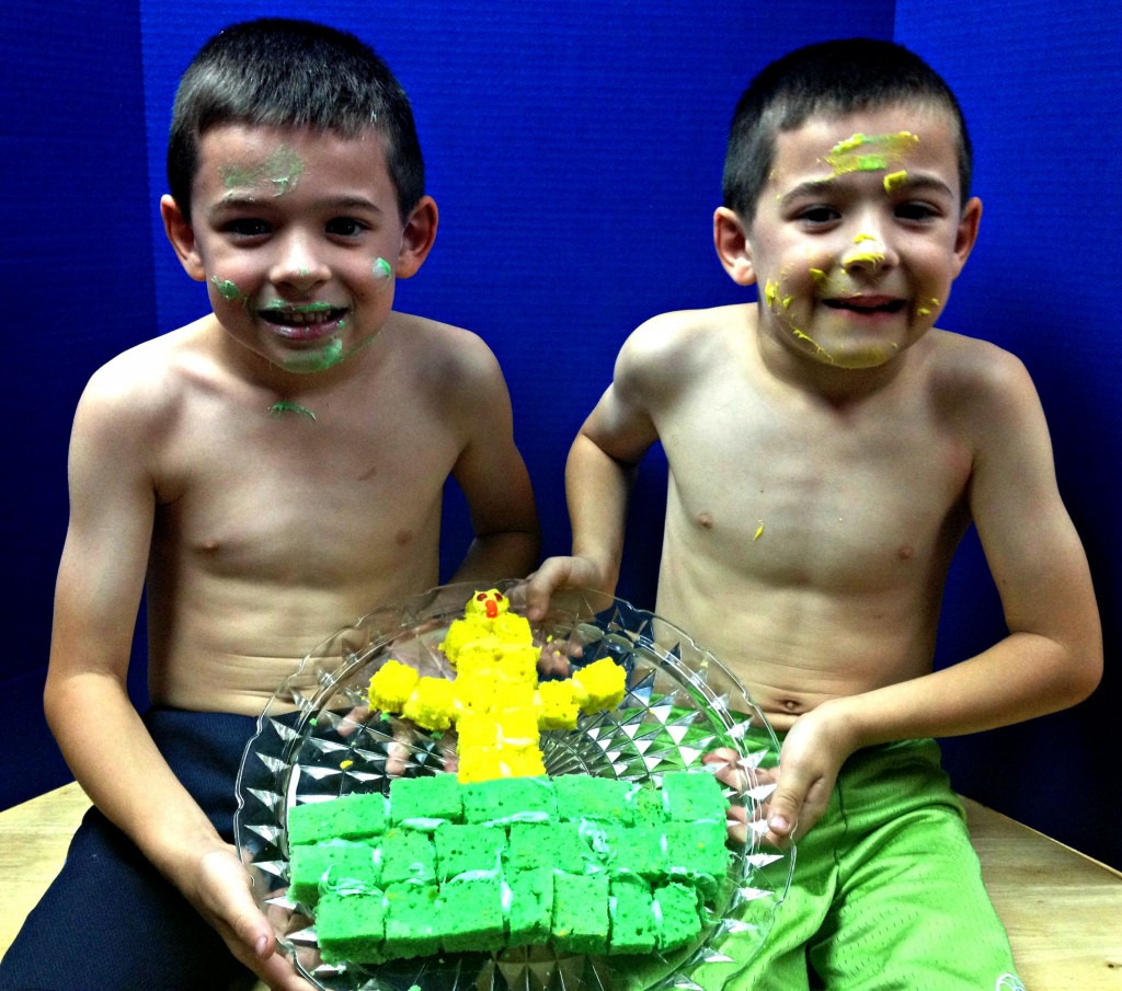 boys with cake finished