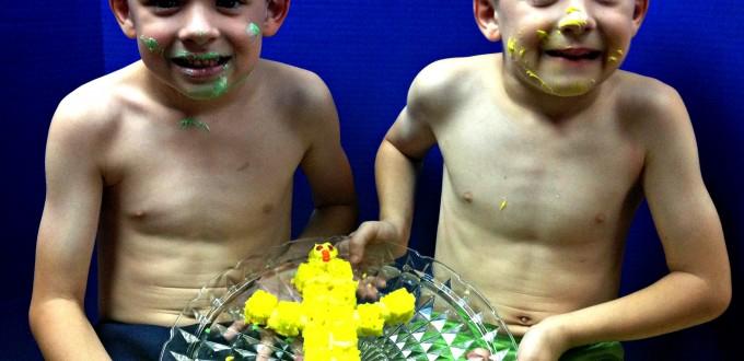 boys with cake finished