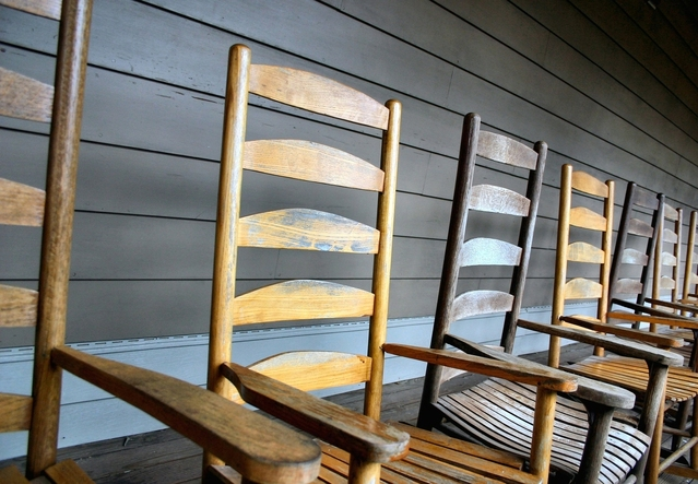 row of rocking chairs